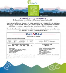Adhérer à SoluCir : RIB SDH Crédit Mutuel